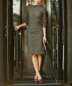 Navy Ms. Porter Wool-Blend Dress