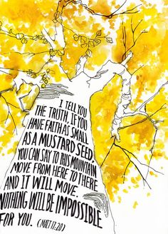 """MustardSeed"" // Bible verse art by Laura Lin. Available to license on Biblestock: http://Biblestock.co/product/painted-verses"