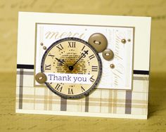 clock covers a more feminine butterfly on the stamped background to give a more masculine feel to the card