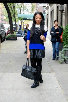 TWO by Vince Camuto Sweater Black Leather Skater Skirt Nine West Tall Leather Boots Cole Haan Bag  Sydnee Paige | Fashion Blogger  Www.front-paige.com