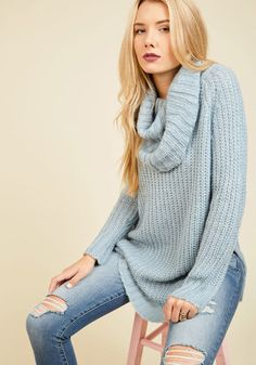 0f8d420a2b3 Homecoming  Round the Mountain Sweater in Frost. A return trip to your  northern roots is the perfect opportunity to debut this sky blue sweater.