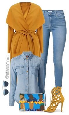 """""""Denim x Mustard"""" by efiaeemnxo ❤ liked on Polyvore featuring 7 For All Mankind…"""