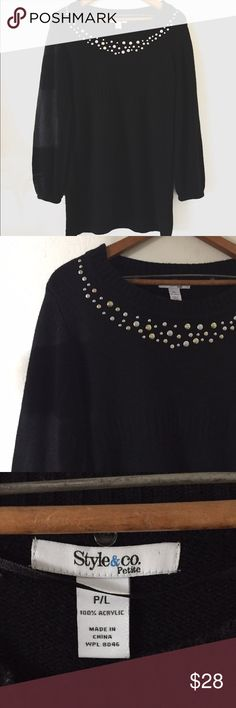 {Style&Co} Metal Button Embellished Tunic Sweater EUC, no flaws. Size Petite Large. 100% Acrylic. Tunic Sweater with Balloon Sleeve Detail and Embellished with Silver and Gold Colored Metal Buttons. The Comfiest Sweater to wear over leggings. Style & Co Tops Tunics