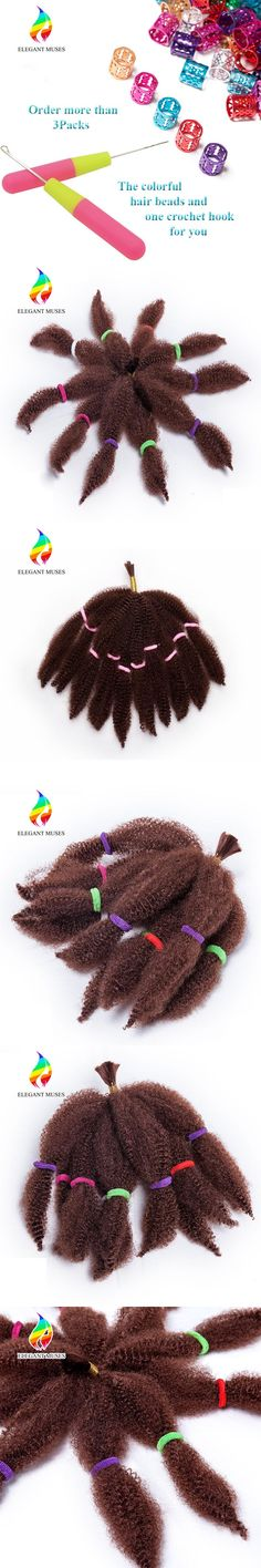 ELEGANT MUSES Hair Products 10 Inch Synthetic Fiber Afro Kinky Curly Twist Crochet Braiding Hair Extensions and Weaving 50g/pcs