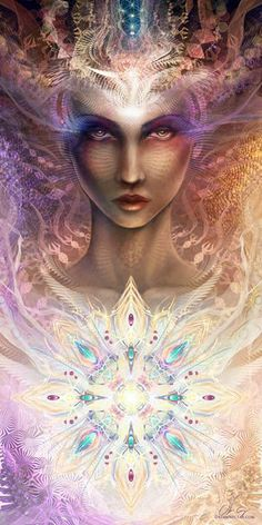 """The Grail of the Feminine is urging us to open our minds to a new vision of reality, a revelation of all cosmic life as a divine unity. Visionary art by Olivia Curry "" Psychedelic Art, Art Visionnaire, Sacred Feminine, Mystique, Visionary Art, Sacred Art, Gods And Goddesses, Fractal Art, Sacred Geometry"