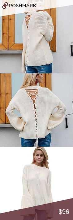 Open Lace Up Back Bell Sleeve Knit Sweater Cream Open Lace Up Back Bell Sleeve Knit Sweater Cream  Super cozy and comfortable with cute, boho details like the open, lace up back and retro bell sleeves. Chunky ribbed knit. Pretty, soft off white color.  ❌ Sorry, no trades.   608686  loose fit cable waffle knit slouchy oversized sweater  fairlygirly fairlygirly Sweaters