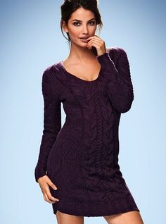 Despite their models' irritating propensity for striking sexy poses which do not help display the clothes, I think Victoria's Secret has the best sweater dresses around.