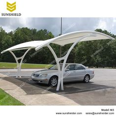SUNSHIELD car shades canopies with the curved roof and PVDF covering are the strong carports under any weather. Self-clean appearance, UV resistance.