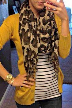 Black cardigan, leopard print scarf, striped shirt