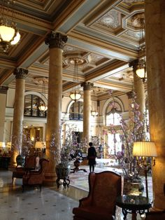 The lobby of Willard InterContinental Washington DC  decked out with spring cherry blossoms