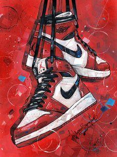 Jordan Shoes Wallpaper, Sneakers Wallpaper, Air Jordan Retro, Nike Retro, Retro 1, Nike Air Shoes, Nike Air Jordans, Retro Jordans, Jordan Painting