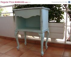 SALE  50% OFF EVERYTHING French shabby chic,chippy aqua vintage wood,lamp table/bedside table/cabinet/nightstand/occasional table. $190.00, via Etsy.