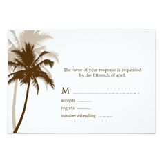 Tropical Wedding Invitation Palm Trees Tropical Wedding Response Cards