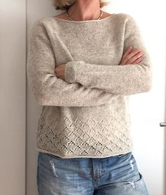 Ravelry: Kaffee-Tante's Amory (test) – Knitting Patterns Pullover Baby Knitting Patterns, Lace Knitting, Knit Sweater Patterns, Crochet Patterns, Diy Pullover, How To Purl Knit, Knit Or Crochet, Pulls, Sweaters