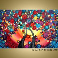 Original Abstract Painting HAPPY TOGETHER Trees Landscape Fantasy Oil Artwork by Luiza Vizoli, via Etsy.