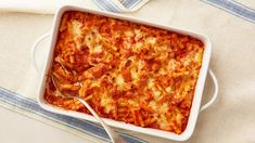 Cream cheese is the secret to the silky sauce in this vegetarian baked pasta dish, while mozzarella and Parmesan create a golden bubbling crust on top.Add 1 lb cooked ground beef and lb chopped greens. Pasta Menu, Pasta Bake, Pasta Dishes, Food Dishes, Main Dishes, Side Dishes, Italian Dishes, Italian Recipes, Creamy Baked Ziti Recipe