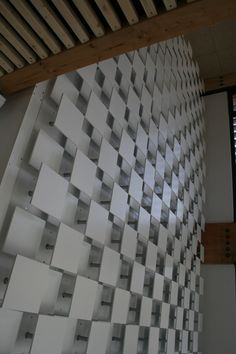 a permanent kinetic light art installation, is on display at maison mecatronique, annecy-le-vieux, france. produced by belgium-based agency LAb[au] Laminate Installation, Light Art Installation, Street Installation, Kinetic Architecture, Architecture Design, Kinect, Architectural Pattern, Wall Decor Design, Kinetic Art