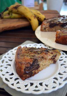 Ανάποδο κέικ μπανάνα σοκολάτα - Sweetly Fruit Pie, Sweet Recipes, French Toast, Banana, Sweets, Cookies, Chocolate, Breakfast, Cake