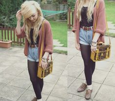 Knit Cardigan, Levis Shorts, Lace Body