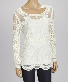 Look what I found on #zulily! Reyna Ivory Lace Scoop Neck Top by Reyna #zulilyfinds