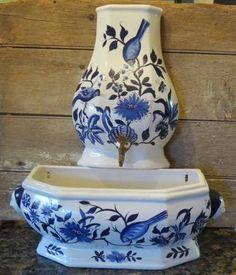 Vintage Cobalt Blue & White   Italian Art Pottery Wall Fountain #Jardiniere #Planter