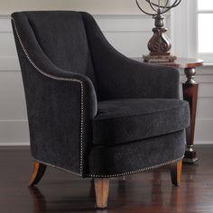 Black upholstery and nailhead trim... Pretty!