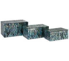 Set of 3  Aramis Blue Glass Mosaic Boxes | 55DowningStreet.com