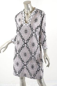 e6471a7ea05 McLaughlin Blue Cayenne Aqua/Coral Nylon Stretch Tunic 'coral' Print Short  Casual Dress Size 16 (XL, Plus