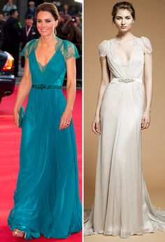 Brides: Get the Look: Kate Middleton's Green Lace Jenny Packham Gown