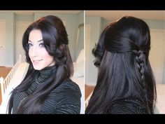 Braided Half-Up Half-Down Hairstyle - YouTube Verdict: Take a little extra time and it is well worth it.   Loved it for a business casual Friday-like work day.  If your bangs are longer (like mine) just curl and pin back smartly - still cute!