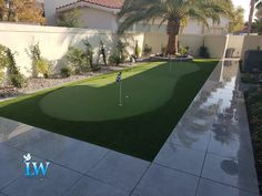 Utilizing a product from our supplier Synthetic Grass Warehouse, we are able to create a back yard putting green for our clients.