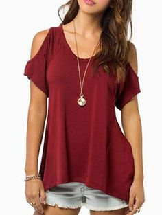 Open Shoulder V Neck T-shirt