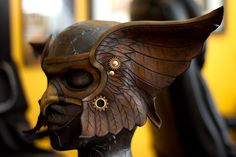 Valkyrie Leather Mask by *OsborneArts on deviantART - can easily add more rivets, gears, etc.