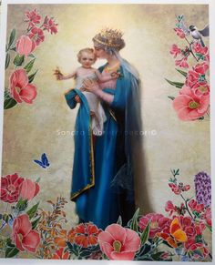 Catholic art Virgin Mary with child Jesus & by ThreeArchangels