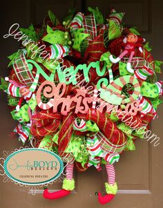 Elf legs Christmas Mesh Wreath by Jennifer Boyd Designs.  www.facebook.com/JenniferBoydDesigns www.etsy.com/shop/JenniferBoydDesigns