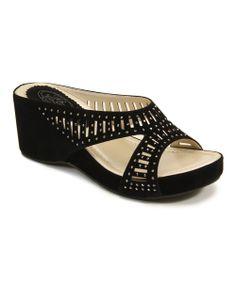 Black X-Strap Platform Sandal