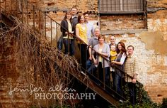 large family on stairs