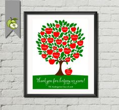 Personalised teacher gift, Teacher apple, Tree Class Names, Teacher Appreciation, End of year, Teacher gift, Customizable, DIY printable