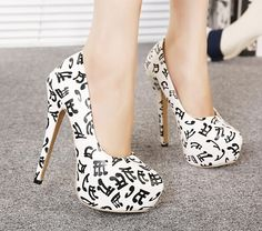 2015 new listing spring fashion note patterns waterproof pumps have 40 code shoes AD