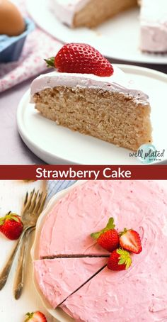 from scratch Fresh Strawberry Cake with Strawberry Cream Cheese Frosting! Strawberry Cake From Scratch, Homemade Strawberry Cake, Fresh Strawberry Cake, Chocolate Strawberry Cake, Strawberry Cake Recipes, Cake Recipes From Scratch, Chocolate Chip Banana Bread, Strawberry Filling, Cupcakes