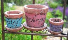 NEW-SET-of-3-Herb-Pots-Planters-Miniature-Dollhouse-FAIRY-GNOME-GARDEN-Resin