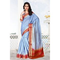 Designer Raw Silk Light Blue & Red Saree - 16490
