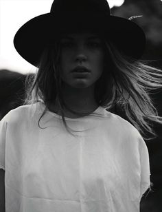 Vogue Germany January 2014 wide brim hat, white top