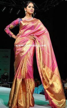 Checkout model wearing pink kanchipuram silk bridal saree with polka dots zari work and huge zari border and zari pallu and paired with ...