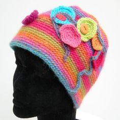 Bonnet pour femme - tons rose, bleu, vert et orange