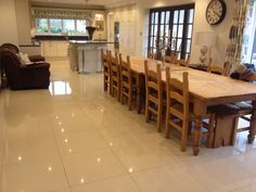 Mr and Mrs Evershed's stunning kitchen tiled in polished porcelain by Yarm flooring Www.yarmflooring.com