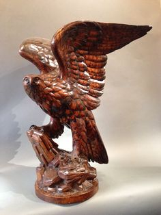 "Swiss ""Black Forest"" Carved Life-sized Eagle 1880"