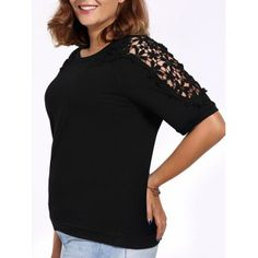 SHARE & Get it FREE   Chic Plus Size Hollow Out Half Sleeve Women's T-ShirtFor Fashion Lovers only:80,000+ Items·FREE SHIPPING Join Dresslily: Get YOUR $50 NOW!