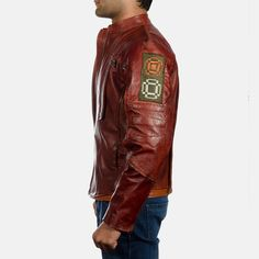 Mens Mars Maroon Leather Jacket 3 Brown Leather Jacket Men, Leather Men, Star Lord, Mars, Mens Fashion, Jackets, Fabrics, Shopping, Ideas