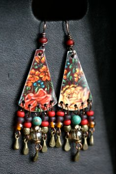 The Gipsy Folk earrings BohemianBohoColorfulTin by Tribalis
